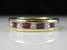 18K Ruby Diamond Band Channel Set H/VS Princess Cut .35ctw Yellow Gold Size 6.25
