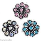 3 Mixte Boutons Pression Click Strass Fleur Pr Bracelet Personnalisé 2cm