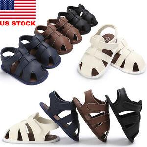 US Infant Newborn Baby Boy Sandals Leather Soft Crib Shoes Anti-slip Prewalkers