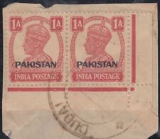 1948 India Stamps with ovpt. Pakistan used in Dubai, on piece, RRR! [sr3189]