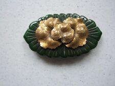 Vintage Bakelite Deeply Carved Green Flower with Metal Leaves Pin Brooch