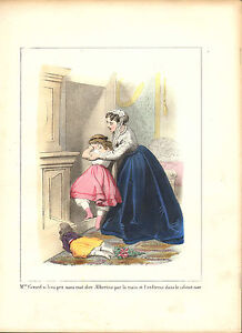 1870 lithograph from jules desandre . mother and child crying !