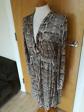 Ladies H&M Dress Size S 12 Snakeskin Print Stretch Smart Party Evening Brown