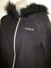 VINTAGE Bebe Sport S Logo Jacket Coat Faux Fur Hoodie Black Outdoor Warm CHIC