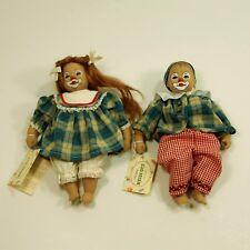 "Rare Heidi Ott clown - handpainted set - boy &gGirl dolls - 8 1/2"" tall"