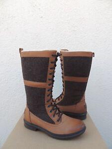 UGG ELVIA CHESTNUT WATERPROOF LEATHER/ WOOL SNOW BOOTS, WOMEN US 9/ EUR 40  ~NIB