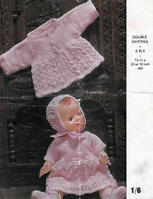 """#135 DK/4ply Doll Premature Baby Girl 20"""" or 16"""" Lacy Outfit  Knitting Pattern"""