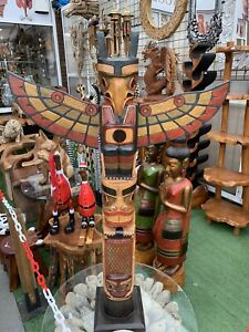 Wooden Statue Tribal Eagle American Indian Ethnic Totem Pole L 100 cm Heave 4 kg