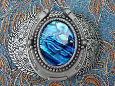 Nuevo Azul Abalone Herradura Hebilla de Cinturón Metal Plata Antigua Vaquero Occidental