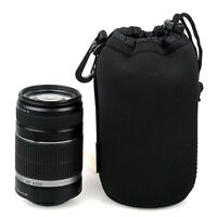 Black Neoprene FOR DSLR Camera Lens Soft Protector Carry Case Bag Pouch S-XL New