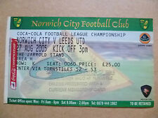 Tickets- 2005 NORWICH CITY v LEEDS UNITED, 27 Aug; League Championship
