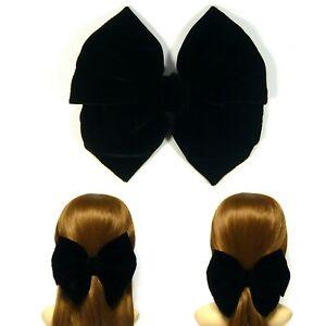 Extra Large Black Silk Velvet Fabric Ribbon Double Bow Metal Barrette Hair Clip