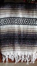 Falsa Mexican Blanket Brown,White&Tan Yoga  Black Aztec Strips White Fringe XL