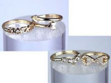 Set of 4 Gold Tone Midi Mid Rings with Infinity, Heart, and Arrow Designs