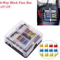 6-Way Block Fuse Box Holder with LED indicator for Car Boat 12V-32V Waterproof
