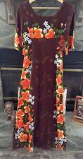Ui Maikai Barkcloth Dress Small Hawaiian Hibiscus Vintage 60's Fabric