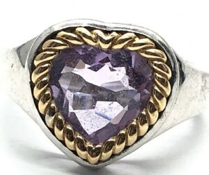 Vintage 14k Gold Sterling Silver Ring 925 Size 7 Amethyst Heart Wire Signed EMA