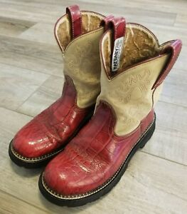 Ariat FatBaby Boots 14709 Dark Red Reptile Print LEATHER Size 9.5 B COWBOY WOMEN