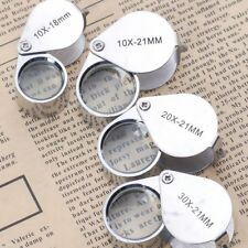 4sizes Triplet Jeweler Eye Loupe Magnifier Magnifying Glass Jewelry Diamond+Box
