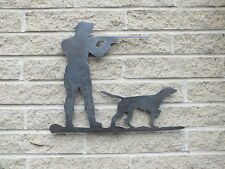 Gunman and Dog Silhouette in Mild Steel, for Weather vanes or Features in Gates