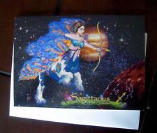 Sagittarius Astrology Angel Centaur Original Art Birthday Card Nov 21 Dec 20