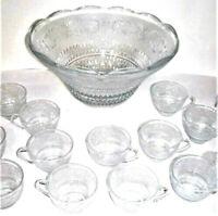 Vintage Mid Century Modern Glass Punch Bowl Set Cups Party Fleur Lys Sandwich