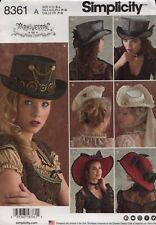 Simplicity Pattern 8361 Misses Hats Steam Punk Pattern Size S-L