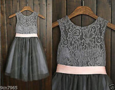 Grey /with /Ivory/Champagne/Lace Tulle Flower Girl Dress Bridesmaid Communion