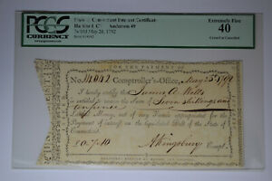 State of Connecticut Interest Certificate PCGS Extremely Fine 40.