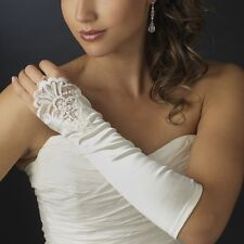"12"" Ivory Luxurious Bridal Satin Lace Insert Fingerless Wedding Prom Gloves"