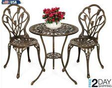 Outdoor Patio Bistro Set Cast Aluminum 3-Piece Patio Furniture Table Chair Set