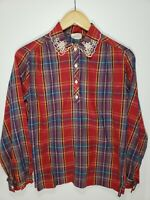Vintage 60s 70s Plaid Embroidered Collar 4 Button Long Sleeve Womens Blouse Thin