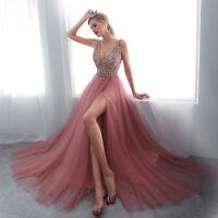 2019 Prom Dresses Long V Neck High Split Pink Beaded Tulle Evening Gowns Custom