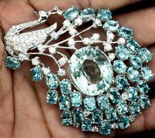 Estate Huge 212 carat natural Blue Zircon & White CZ  Silver Peacock brooch pin