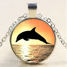 Cabochon Glass Silver Charm Pendant Necklace Dolphin jumping at sunset