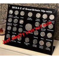 2018  A-Z 10p Acrylic Display Stand Case + Space For Collector Medal ( NO COIN )