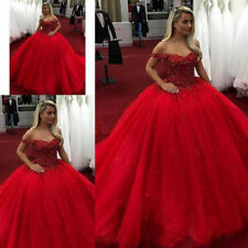 Red 2020 Sweet 16 Ball Gown Quinceanera Dresses Off Shoulder Beads Prom Dresses
