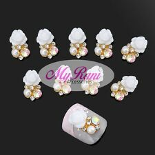 5 x 3D NAIL ART JEWELLERY NAIL CHARMS DECORATIONS ACCESORIES - WHITE FLOWER