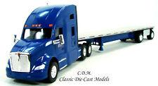 Kenworth T680 Sleeper Cab Blue SYSTEM TRANSPORT w/Flatbed Trailer 1/87 HO TNS062