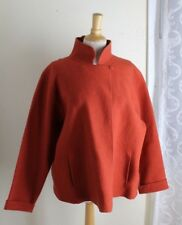 Eileen Fisher -Sz L Burnt Orange Elegant Front Wrap Boiled Wool Jacket Coat