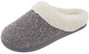 Memory Foam Knit Slippers Mules Women's Cozy House Shoes Anti-Skid Size 7-8