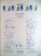 AUSTRALIA v ENGLAND 1988 BI-CENTENNIAL TEST OFFICIAL CRICKET AUTOGRAPH SHEET