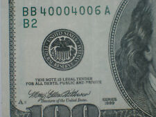 SN BB40004006A Five Zeros Hundred Dollar FRN Federal Reserve Note Series 1999
