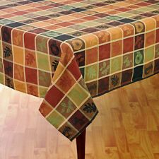 "Thanksgiving & Fall Tablecloth Harvest Plaid with Shimmer Stitching 70"" ROUND"