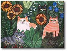 BEST CATS in the GARDEN Folk Art Print-Jungle Cat -Artist sgd Wendy Presseisen