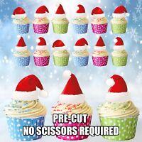 PRECUT Christmas Red Santa Hats 12 Edible Cupcake Toppers CAKE Decorations