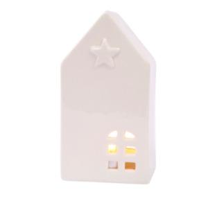 White Ceramic Star House Shaped Tealight Tea Light Candle Holder Langs