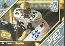 2008 Upper Deck Draft - ANDREW GARDNER - Gold Autograph - GEORGIA TECH #d18/25