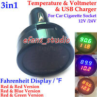 3in1 Digital LED Car Cigarette Lighter Voltmeter Thermometer USB Charger 12V 24V