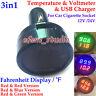 3in1 Digital Temperature Voltage Meter USB Charger 12V 24V Car Cigarette Lighter